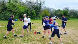 boxercise group training outdoors